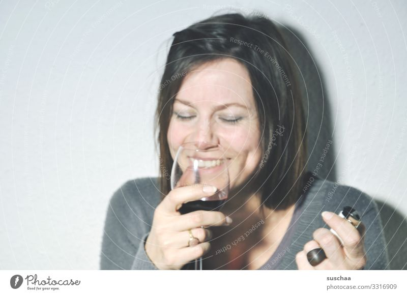 a case for alcoholics anonymous Woman Portrait photograph Face Hand Alcohol-fueled Drinking sip Funny Laughter Wine glass of wine Alcoholism Alcoholic drinks