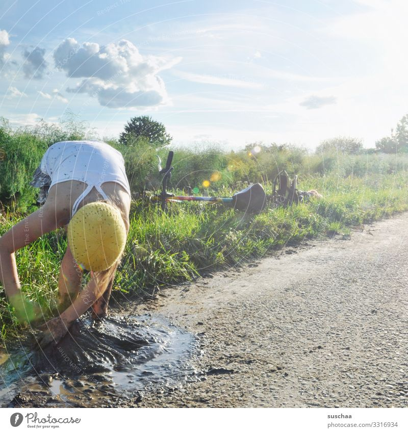 Child Sky Nature Summer Joy Girl Lanes & trails Happy Grass Freedom Bicycle Dirty Infancy Cap Heavenly Mud