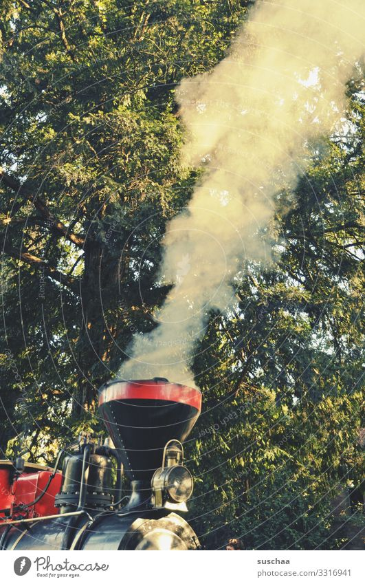 hush hush railway Railroad Engines Steamlocomotive vintage train Tractor Smoke cloud traction unit Rail vehicle Chimney Tree Leaf Forest Vintage car Retro