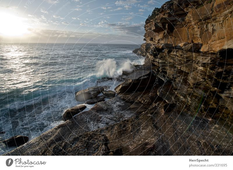 Tomorrow in Bronte Vacation & Travel Tourism Far-off places Summer vacation Nature Landscape Water Beautiful weather Rock Waves Coast Beach Bay Ocean