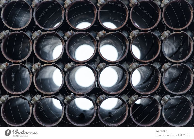 barrel of an army military rocket launcher close up Technology Dark Black War Perspective background circle danger everything Hole Rocket pipe Repeating shoot