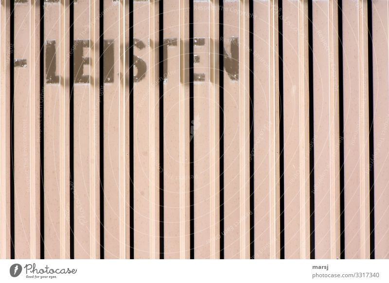 I cannot afford to write Wall (barrier) Wall (building) Facade sheet metal Characters Written Wood strip Old Striped Colour photo Subdued colour Exterior shot