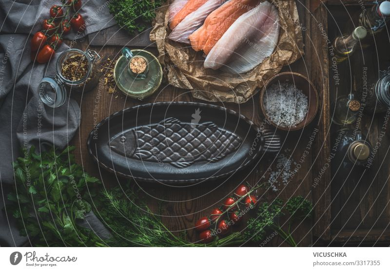 Preparing fish dishes Food Fish Vegetable Herbs and spices Cooking oil Nutrition Organic produce Vegetarian diet Diet Crockery Style Healthy Eating