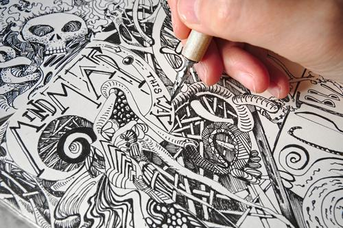 Detail of a hand drawing bizarre, surreal forms and structures with a drawing pen into a sketchbook 1 Human being Art Artist Drawing Scribbles doodle Fantastic