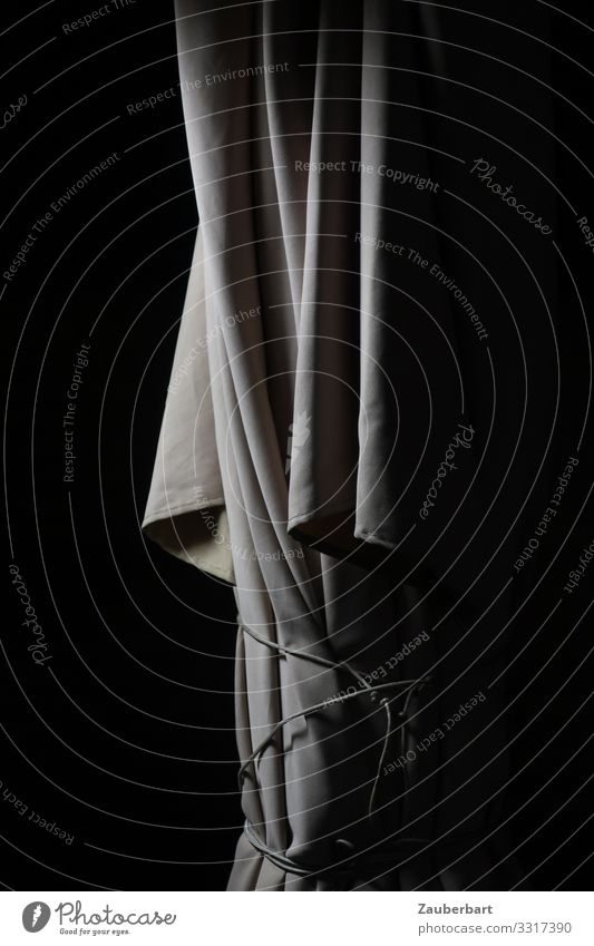 Parasol at night Sunshade Cloth To hold on Stand Wait Gray Black White Patient Unwavering Loneliness Night Wrinkles Folds Shackled Subdued colour Exterior shot