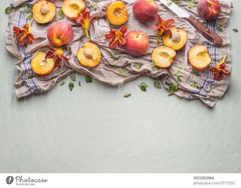 Whole and half peach with garden flowers Food Fruit Nutrition Organic produce Vegetarian diet Diet Knives Style Healthy Eating Summer Design whole halves knife