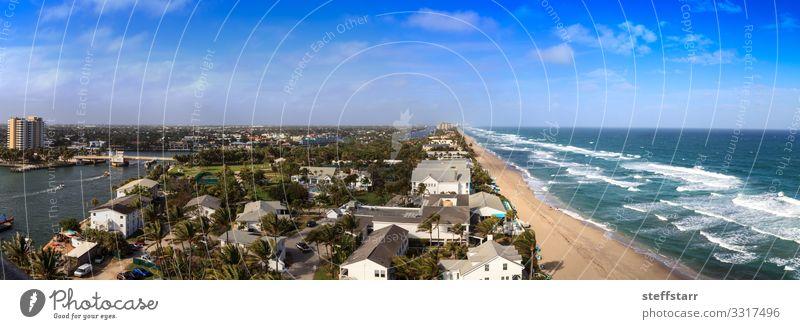 Aerial view of Hillsboro Beach Ocean Nature Landscape Beautiful weather Coast Aircraft Blue Hillsboro inlet Pompano Beach Florida Blue sky coastal