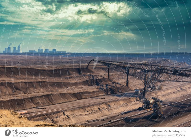 Huge coal excavator in lusatian lignite mining area Sky Plant Landscape Architecture Environment Building Germany Brown Work and employment Transport Europe