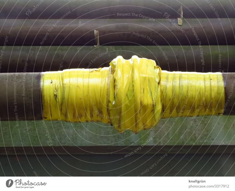 Yellow Gray Dirty Broken Closed Protection Safety Pipe Adhesive tape Wrapped around