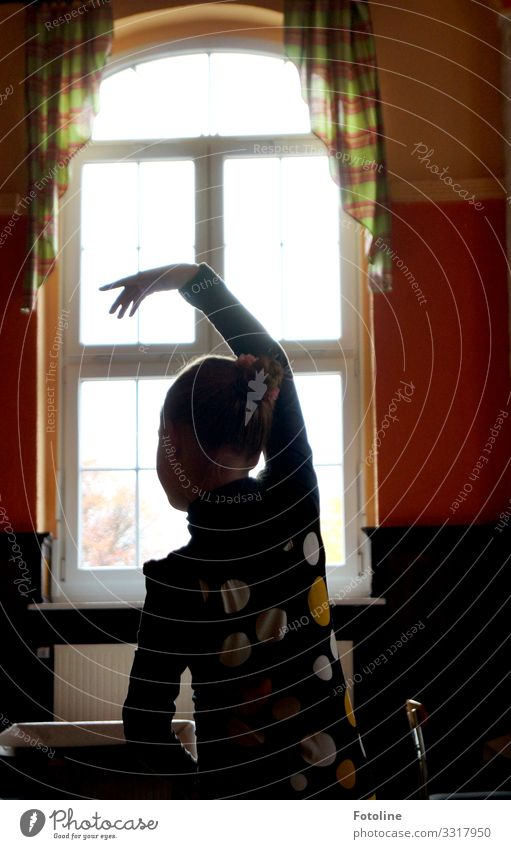 small dancer Human being Feminine Child Girl Infancy Body Head Back Arm Hand Fingers 1 House (Residential Structure) Window Elegant Bright Multicoloured Dance