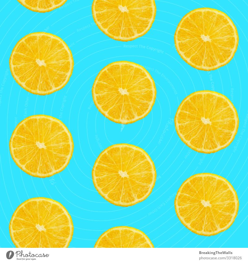 Seamless pattern of oranges on blue background Food Fruit Orange Eating Vegetarian diet Design Healthy Eating Fresh Juicy Blue Yellow Colour Tangerine