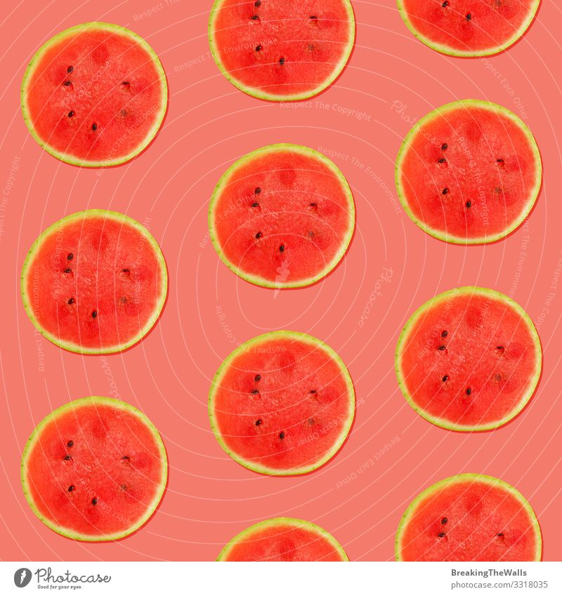 Seamless pattern of watermelon on pink Healthy Eating Summer Colour Red Food Pink Fruit Design Fresh Vegetarian diet Exotic Mature Vitamin Slice Repeating