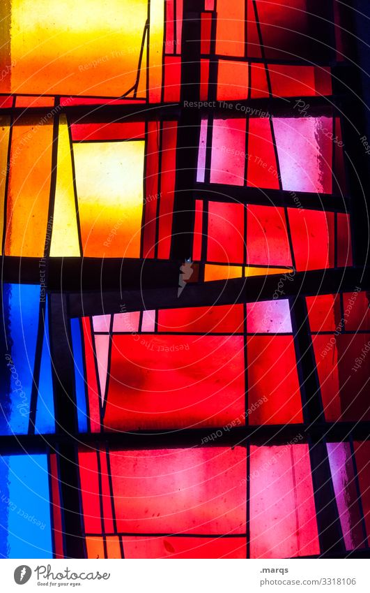 church windows Church window Religion and faith Glass Belief variegated Abstract Light Red Yellow Blue Black Line Exceptional Uniqueness Multicoloured Chaos