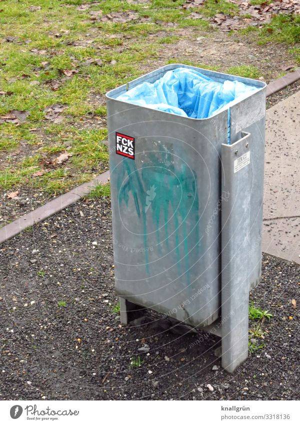 FCK NZS Trash container garbage bag Label Characters Communicate Town Blue Gray Green Silver Emotions Responsibility Society Politics and state Protest Moody