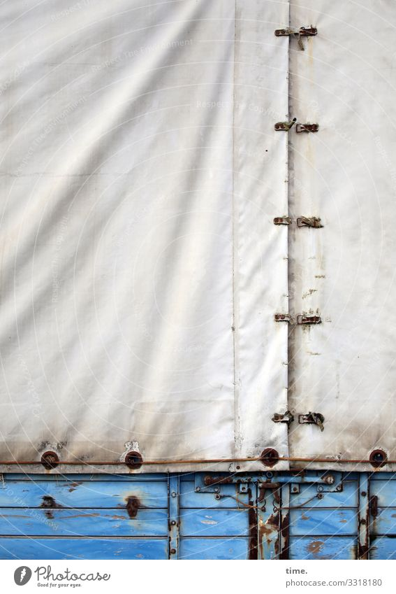 fully planned (1) tarpaulin textile Plastic Blue Pattern structure Covers (Construction) White lines Buckle wood Trailer Old Protection Safety cargo hold Rust
