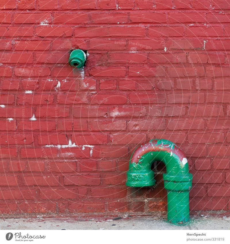 City Old Green Red Wall (building) Dye Building Wall (barrier) Facade Friendship Manmade structures USA Brave Downtown Trashy Divide