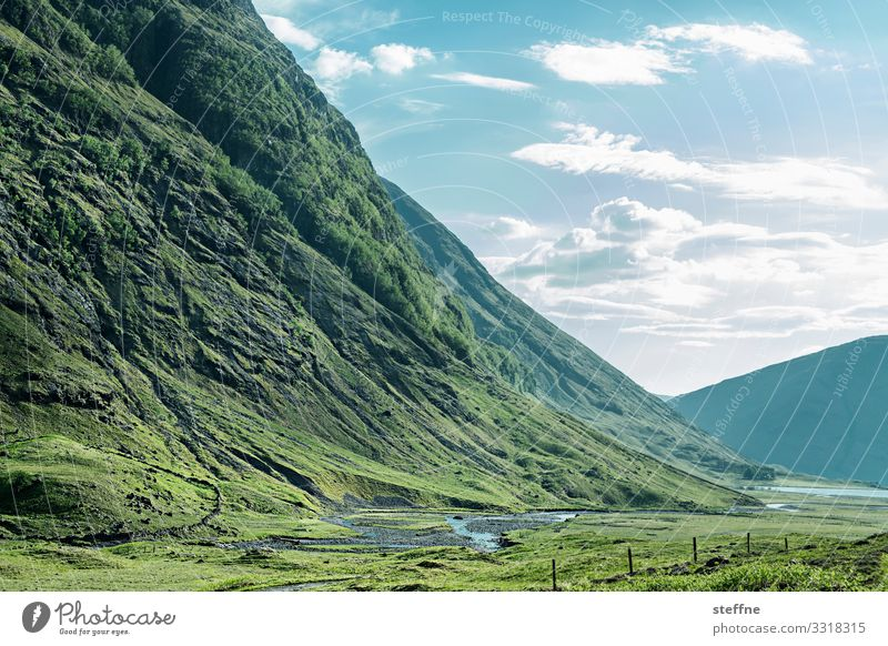 Vacation & Travel Nature Green Landscape Mountain Hiking Idyll Scotland Valley Highlands