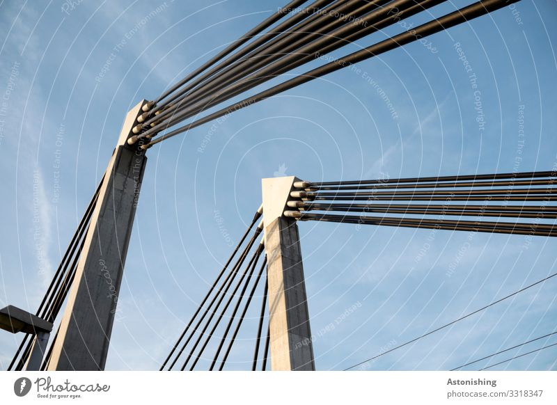 Sky Blue Town White Clouds Environment Lighting Lamp Metal Transport Weather Technology Beautiful weather Large Bridge Tall