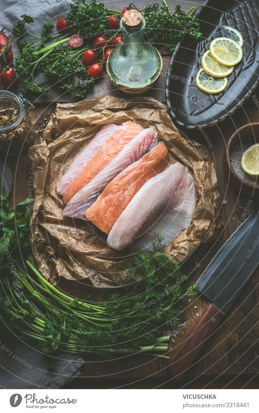 Various fish fillets on kitchen table Food Fish Herbs and spices Nutrition Organic produce Diet Crockery Shopping Design Healthy Eating Restaurant various