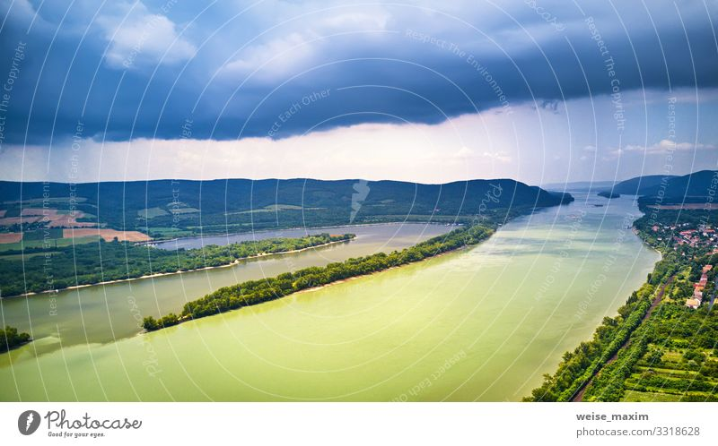 Aerial view of Danube river near Visegrad in Hungary Vacation & Travel Tourism Sightseeing Summer Mountain Environment Nature Landscape Sky Clouds Storm clouds