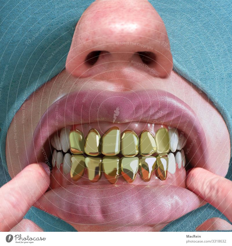 Fingers Gold Mouth Nose Teeth Indicate Lips Whimsical Hideous Gum Gold tooth
