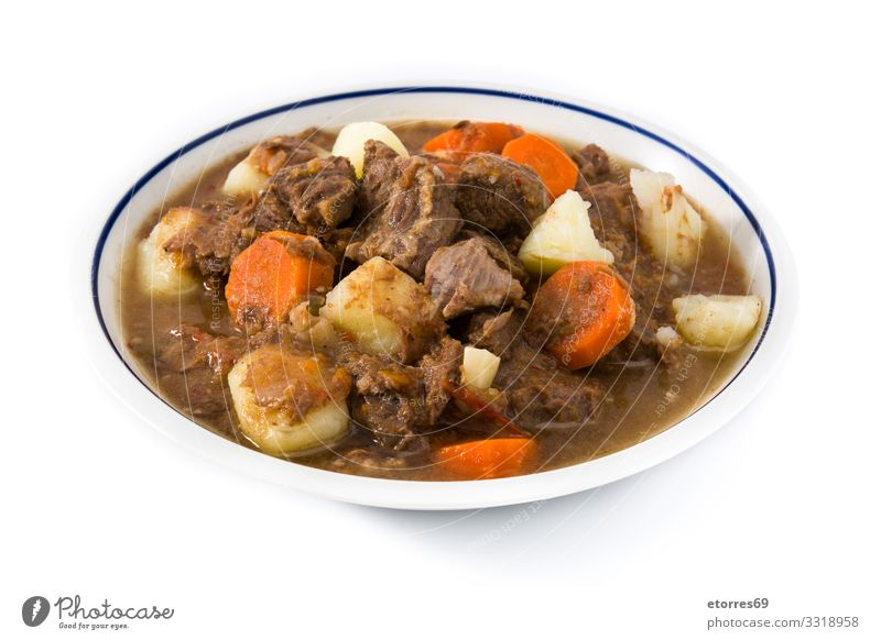 Irish beef stew with carrots and potatoes isolated Irishman Beef Stew Food Healthy Eating Food photograph Carrot Potatoes Meat recipe Tradition Dish