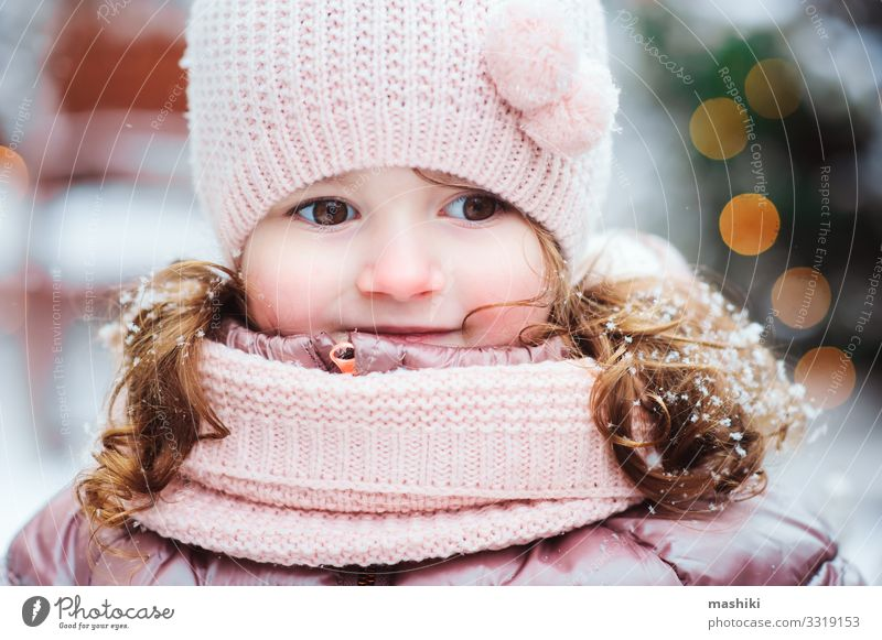 christmas and winter portrait of happy child girl Child Red Tree Joy Winter Warmth Snow Happy Fashion Decoration Bright Smiling Infancy Happiness Gift Baby