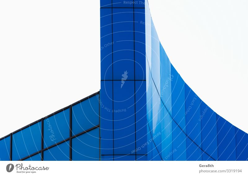 fragment of the wall of a modern blue building Style Design House (Residential Structure) Office Business Building Architecture Facade Line Simple Modern Blue