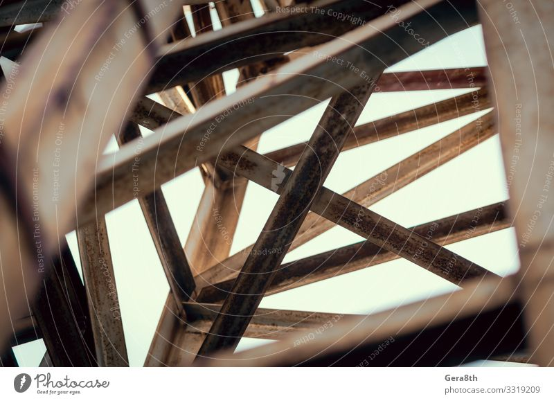 background of metal beams of industrial building close up Industry Architecture Crossroads Metal Rust Old abstraction construction crossbars Geometry Grunge