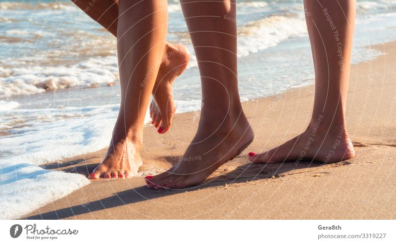 female feet on a sandy beach of the surf of the sea Beautiful Body Skin Relaxation Vacation & Travel Tourism Summer Beach Ocean Waves Feminine Woman Adults
