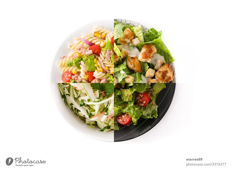 Collage of healthy salads isolated on white background Salad Coleslaw Water melon Noodles Pasta Avocado Tuna fish Vegetable Healthy Healthy Eating Food
