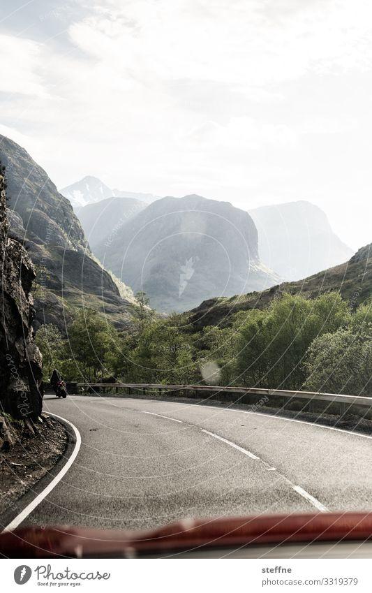 Vacation & Travel Nature Landscape Mountain Street Rock Transport Peak Driving Motorcycle Scotland Highlands Motorcyclist Overtake Left-hand traffic