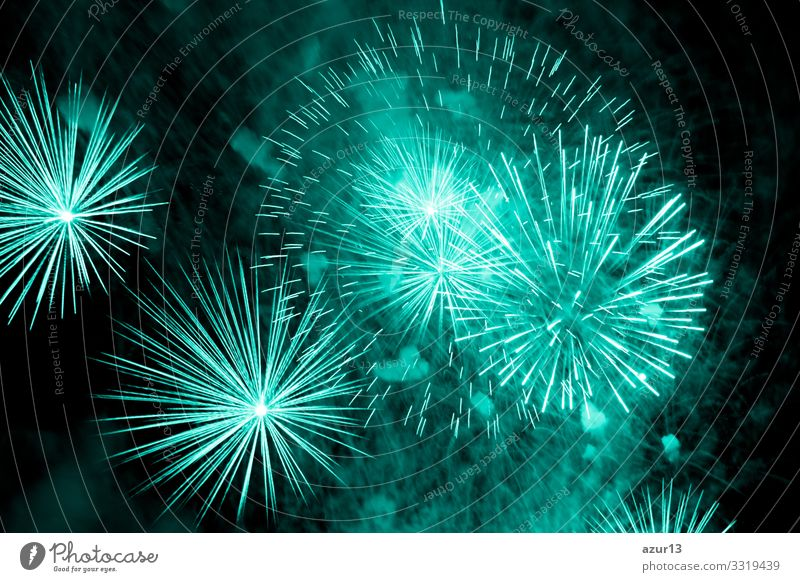 Luxury fireworks event sky show with turquoise big bang stars luxury entertainment party festival nightlife pyrotechnics magic celebration celebrate new year