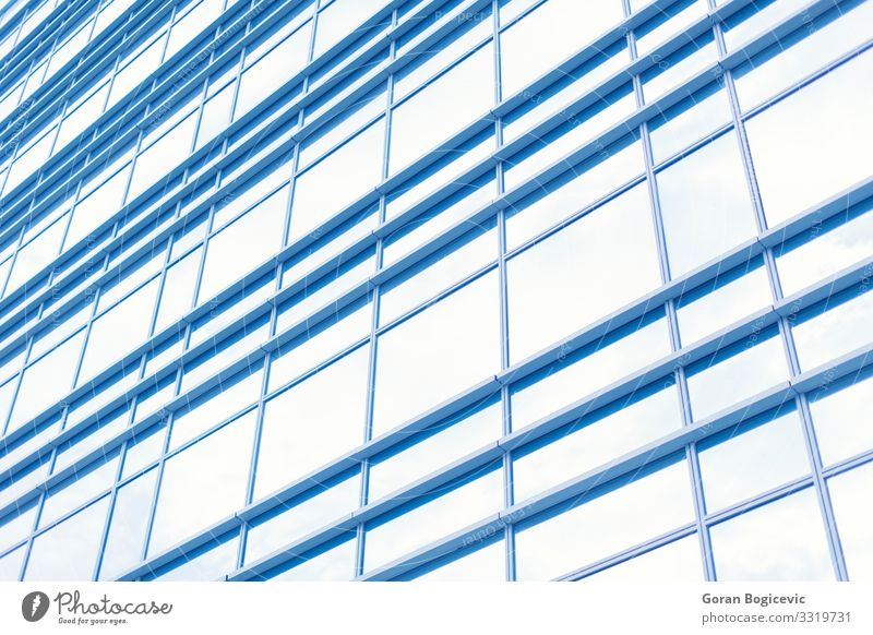 Modern building Design Workplace Office Business High-rise Building Architecture Facade Window Large Tall New Clean Blue Perspective close wall City cityscape