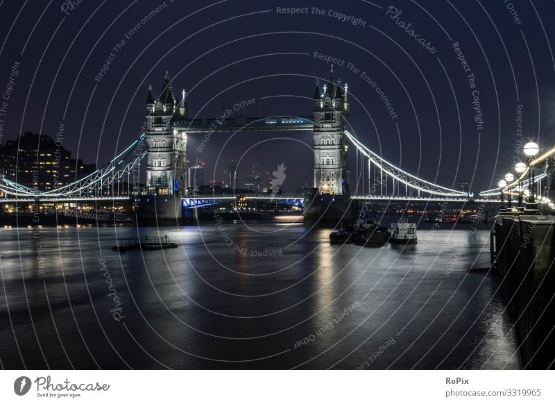 Tower Bridge at night. Lifestyle Style Relaxation Leisure and hobbies Vacation & Travel Tourism Sightseeing City trip Economy Trade Art Architecture Environment