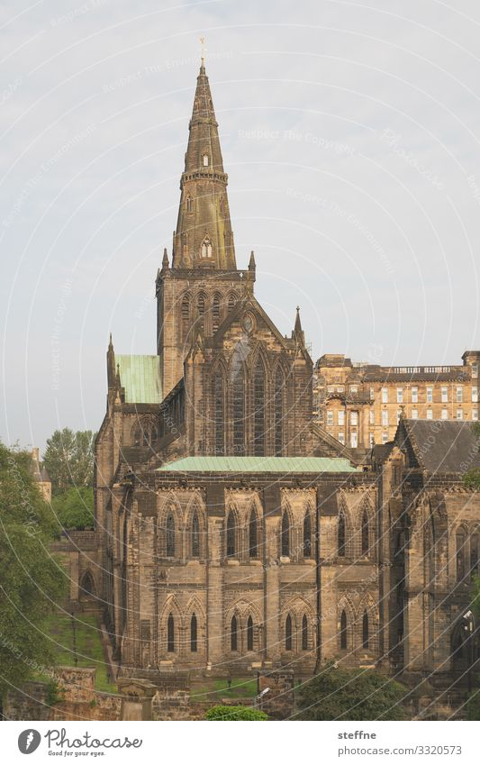 Glasgow Cathedral Old town Church Dome Religion and faith Gothic period Scotland glasgow cathedral Tourist Attraction Massive Sunrise Colour photo Exterior shot