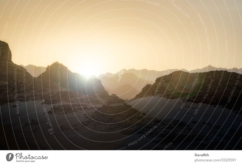 sunset evening in the mountains in the desert of Egypt Vacation & Travel Tourism Summer Sun Mountain Sky Climate Rock Stone Hot Sharm El Sheikh Flare light