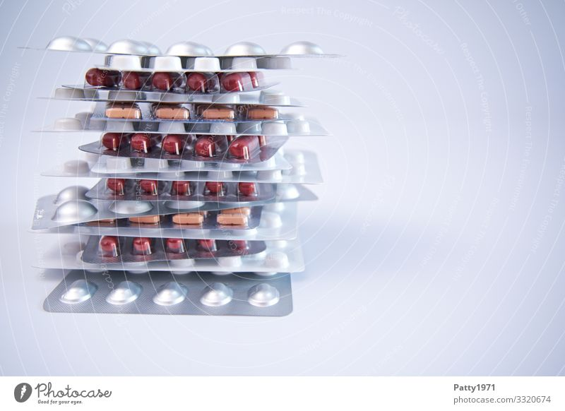 Stacked tablets in blister pack Health care Pharmaceutics Pill Blister Healthy Glittering Round Clean Drug addiction Colour photo Close-up Detail