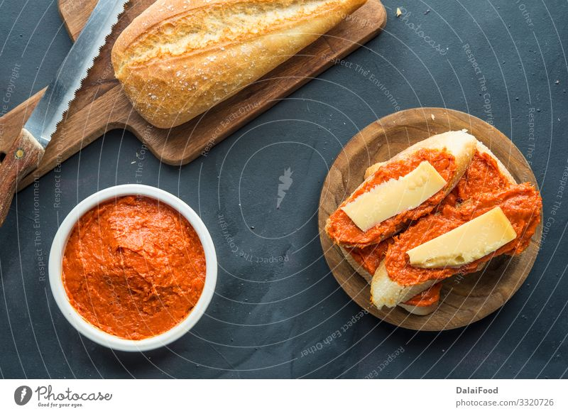 Sobrasada with bread and parmesan typical mallorca spain Meat Sausage Cheese Bread Eating Restaurant Red Tradition Aperitif appetizer brochette chorizo Cooking
