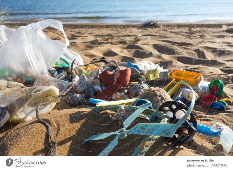 Plastic garbage collected on the beach. Nature Ocean Beach Environment Coast Movement Earth Sand Future Clean Education Trash Bottle 0 Environmental pollution