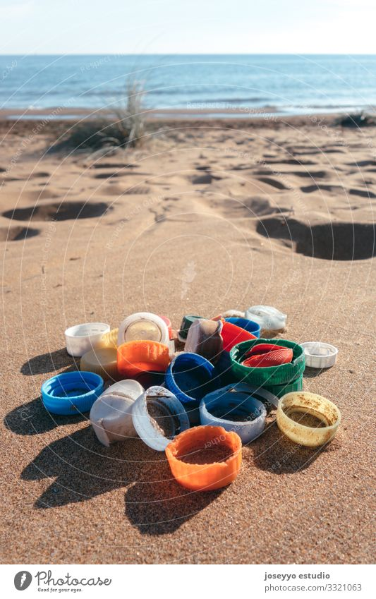 Plastic plugs collected on the beach. Beach Ocean activism Awareness beads Bottle challenge Coast Collect Environment Free Future micro movement Nature picking