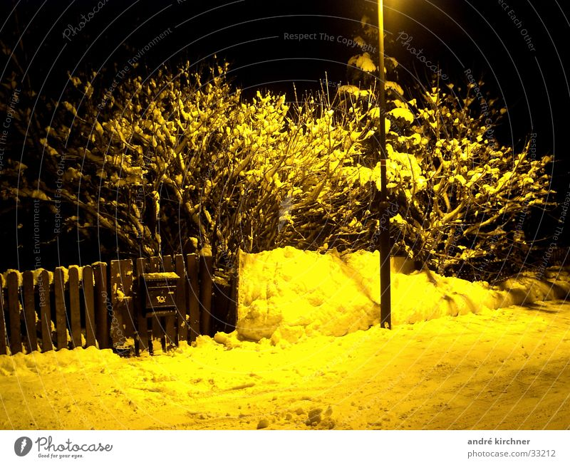 mail Mailbox Winter Fence Night Snow street lamp