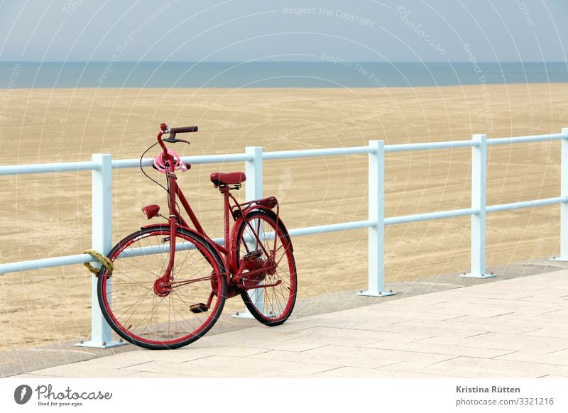red wheel Lifestyle Vacation & Travel Trip Beach Cycling Bicycle Landscape Coast Means of transport Blue Red Freedom Sustainability Environmental protection