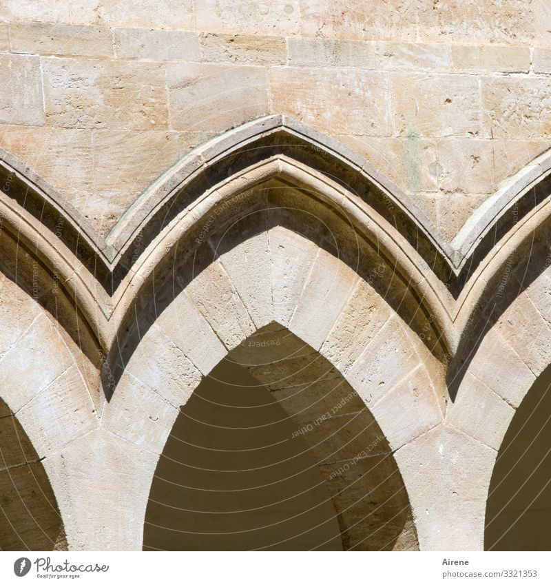 curved Ogival arch Light Day Deserted Exterior shot Colour photo Meditation Central perspective Religion and faith Bright Archway Marble Monastery Arcade
