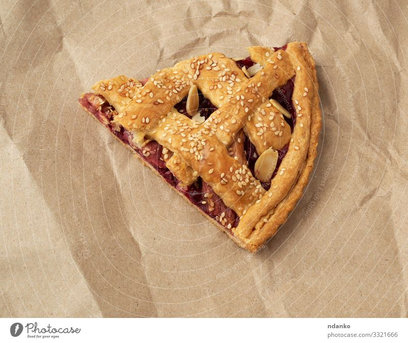 triangular slice of baked cherry pie Fruit Dessert Dinner Winter Table Thanksgiving Family & Relations Autumn Paper Wood Delicious Blue Brown Yellow Red