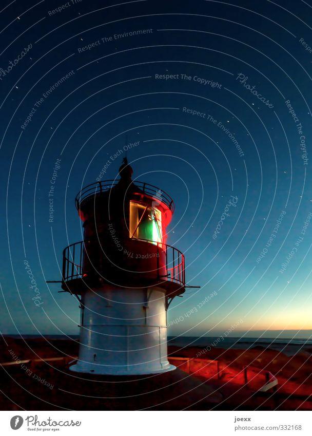 This night belongs to us Sky Cloudless sky Night sky Stars Horizon Sunrise Sunset Beautiful weather North Sea Island Amrum Lighthouse Navigation Illuminate