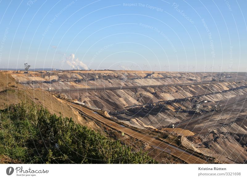 surface mining Energy industry Wind energy plant Coal power station Environment Landscape Earth Climate Climate change Threat Gigantic Large Brown Squander