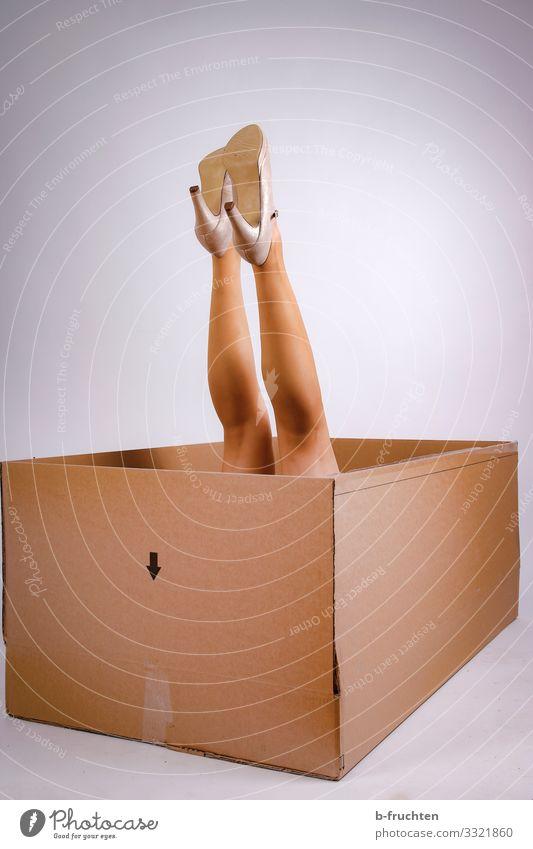 unpack Lifestyle Shopping Elegant Style Joy Beautiful Economy Business Feminine Woman Adults Legs Tights Footwear High heels Packaging Package Select Utilize