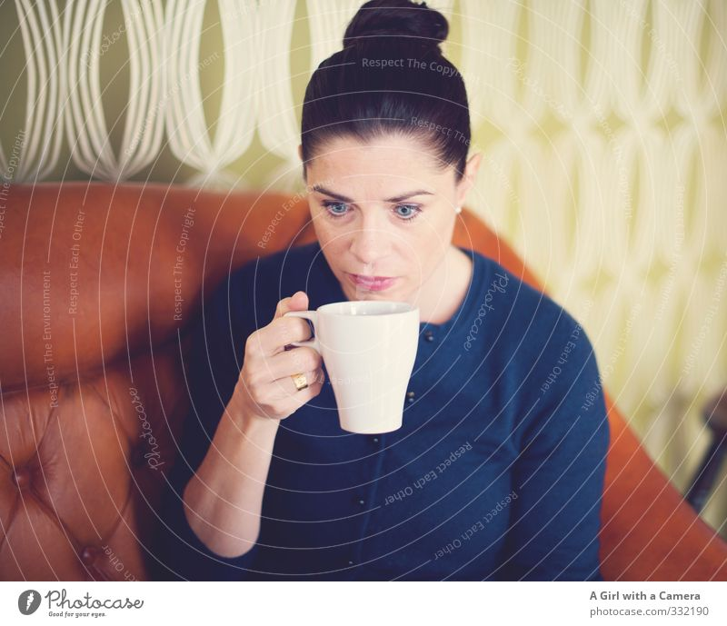 Human being Woman Youth (Young adults) Beautiful Young woman Adults Life Feminine To enjoy Break Drinking Stop 30 - 45 years Coffee cup Coffee break Hot drink