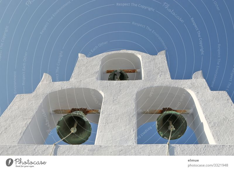 Please ring! Vacation & Travel Santorini Cyclades Old town Church Bell Stone Metal Bell tower Hang Historic Blue White Trust Safety (feeling of) Romance Hope